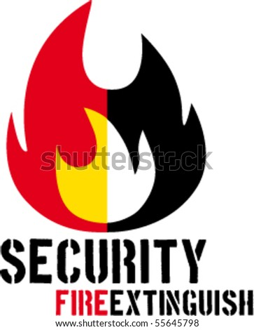 Fire and extinguish unified in simply sign. - stock vector