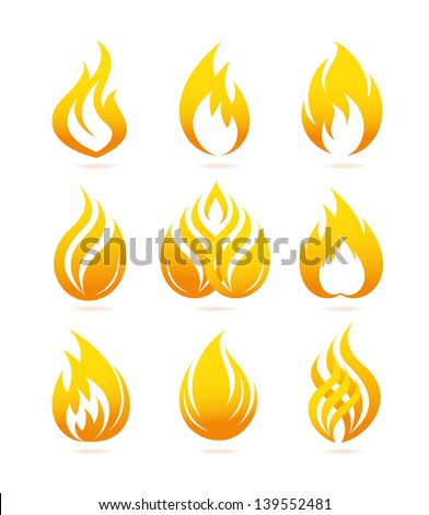 Fire and flame icons set - stock vector