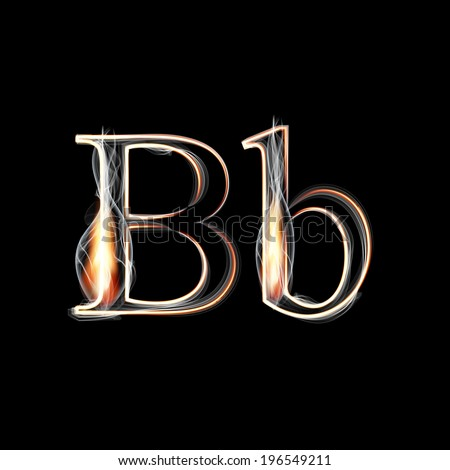 Fire and Smoke font. Letter B. Vector illustration. - stock vector