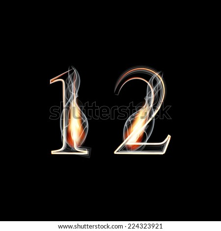 Fire and Smoke font. Numbers 1 2. Vector illustration. - stock vector
