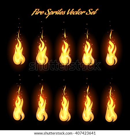 Fire animation frames icons or fire sprites vector illustration - stock vector
