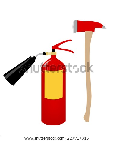 Fire axe, fire extinguisher, fire safety, fire alarm - stock vector