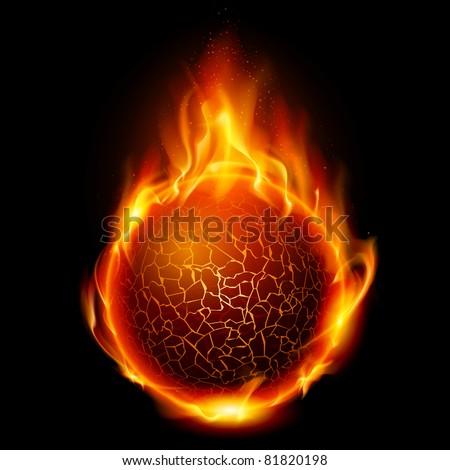 Fire ball. Illustration on black background for design - stock vector