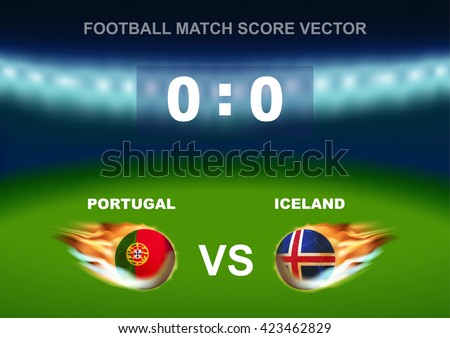 Fire ball on soccer ball of Portugal versus Iceland, design for football match score that occur in France on 2016 - stock vector