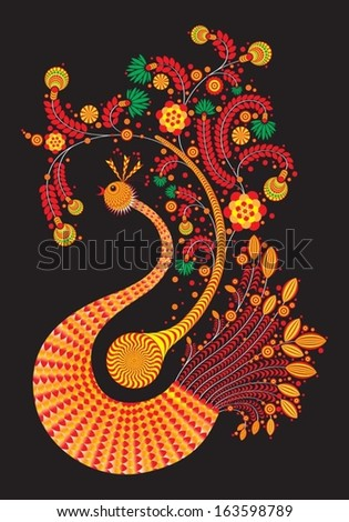 Fire bird with decorative wings and tail patterns isolated on black - stock vector