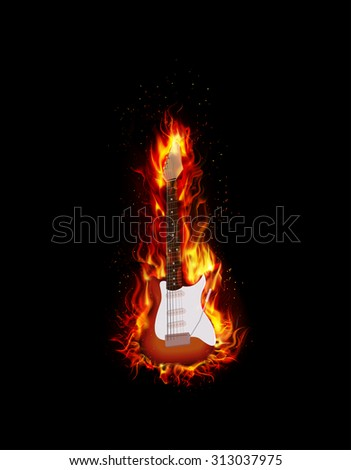 Fire burning guitar black background. vector - stock vector