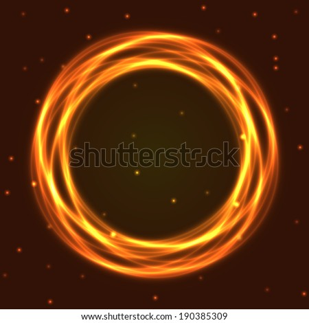 Fire burning, neon circle. Vector illustration, eps10. - stock vector