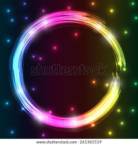 Fire burning, neon circle. Vector illustration, eps10 - stock vector