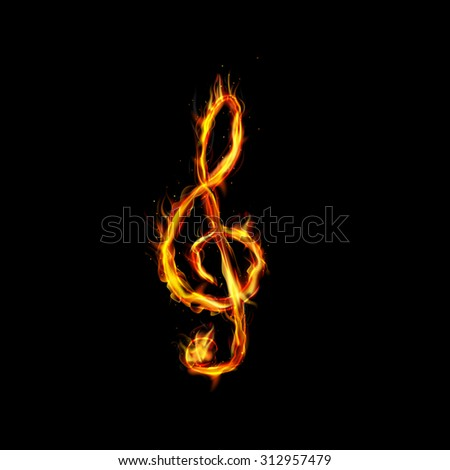 Fire burning note key on black background. vector - stock vector