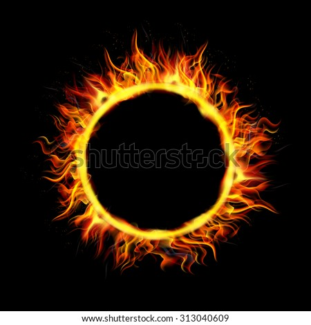 Fire Circle on Black Background. vector