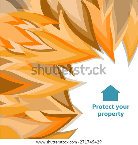 Fire close to destroy house remembering to have insurance - stock vector
