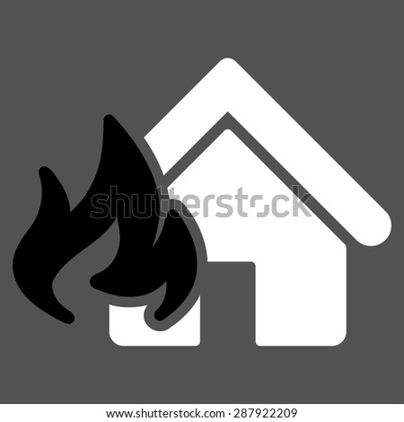 Fire Damage icon from Business Bicolor Set. This flat vector symbol uses black and white colors, rounded angles, and isolated on a gray background. - stock vector