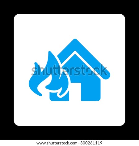 Fire Damage icon. This flat rounded square button uses blue and white colors and isolated on a black background. - stock vector