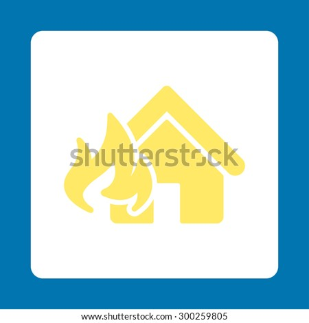 Fire Damage icon. This flat rounded square button uses yellow and white colors and isolated on a blue background. - stock vector