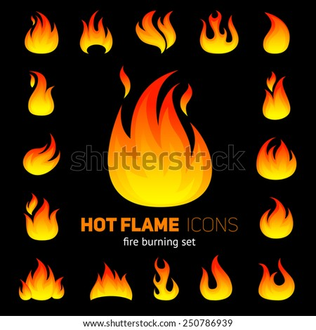 Fire decorative icons set with campfire flame on black background vector illustration - stock vector