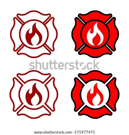 fire department badge logo template stock vector 575977471