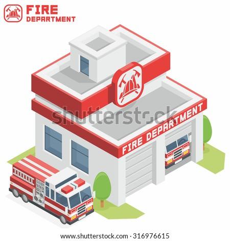 Fire Department building - stock vector