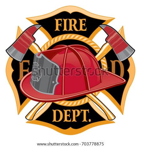 Fire Department Cross Symbol is an illustration of a fireman or firefighter Maltese cross emblem Great for t-shirts and flyers.