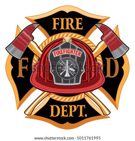 Fire Department Cross Vintage with Red Helmet and Axes is an illustration of a vintage fireman or firefighter Maltese cross emblem with a red firefighter helmet with badge and crossed axes. Great for