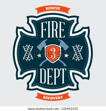Fire department emblem crest with crossed axes - stock vector