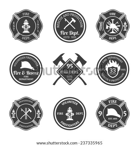 Fire department professional firefighter equipment black emblems set isolated vector illustration - stock vector