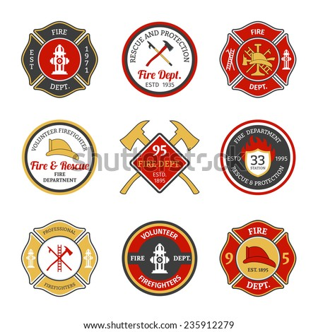 Fire department rescue and protection volunteers and professional firefighter emblems set isolated vector illustration - stock vector