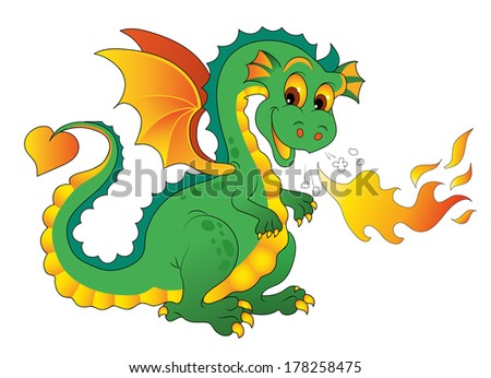 Fire Dragon isolated on white background  Vector illustration  Cartoon Mascot Character   - stock vector