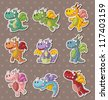fire dragon stickers - stock photo