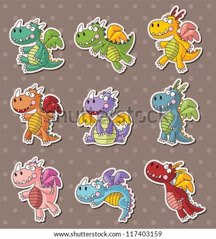 fire dragon stickers - stock vector