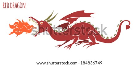 Fire dragon. Vector Illustration - stock vector