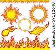 Fire elements. Illustration vector. - stock vector