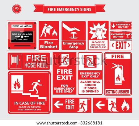 Famous Fire Emergency Signs Emergency Shutoff Break Stock Vector  GB21