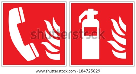 Fire emergency telephone, fire extinguisher signs - stock vector