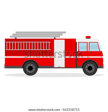 Fire engine, fire engine icon, firefighter, special purpose vehicle. Flat design, vector illustration, vector.