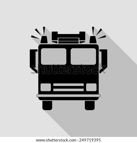 fire engine icon - black illustration with long shadow - stock vector