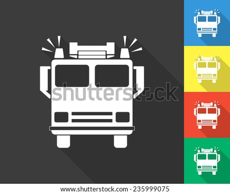 fire engine icon - gray and colored (blue, yellow, red, green) vector illustration with long shadow - stock vector