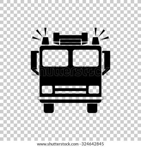 fire engine vector icon - black illustration - stock vector