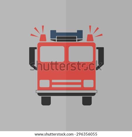 fire engine vector icon. Flat design - stock vector