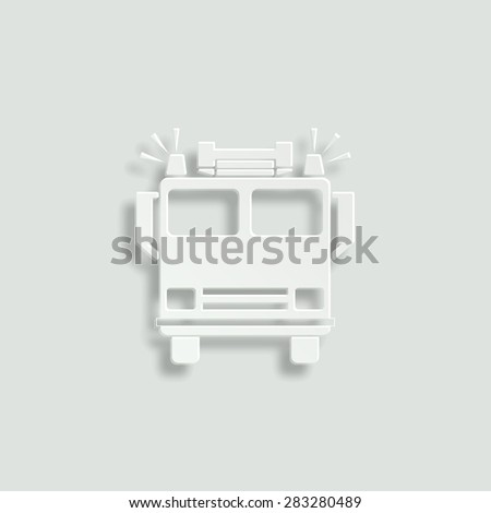 fire engine vector icon - paper illustration - stock vector