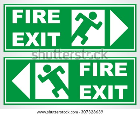 Fire exit sign. Vector illustration. - stock vector