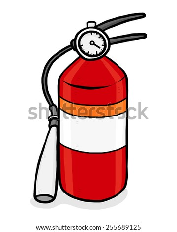 fire extinguisher / cartoon vector and illustration, hand drawn style, isolated on white background. - stock vector