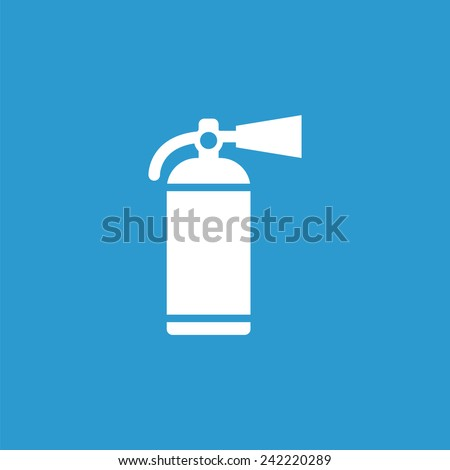 fire extinguisher icon, isolated, white on the blue background. Exclusive Symbols  - stock vector