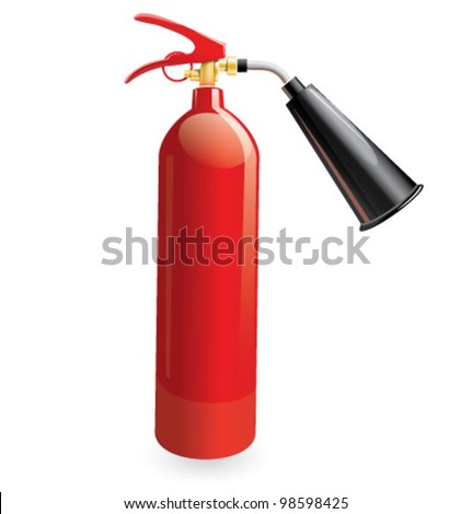 Fire extinguisher red metal icon. Glossy vector illustration