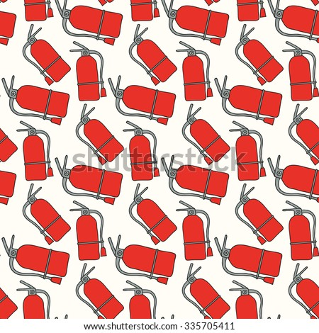 Fire extinguisher. Seamless pattern with hand-drawn fire extinguishers. Firefighting doodle drawing. Vector illustration - swatch inside - stock vector