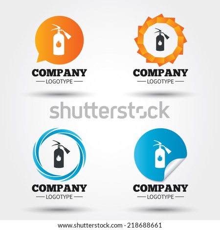 Fire extinguisher sign icon. Fire safety symbol. Business abstract circle logos. Icon in speech bubble, wreath. Vector - stock vector