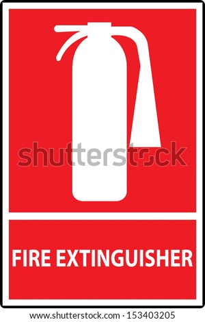 Fire extinguisher sign isolated on red. Vector Illustration - stock vector