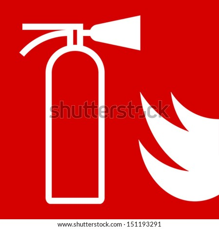 Fire extinguisher sign on red background  - stock vector