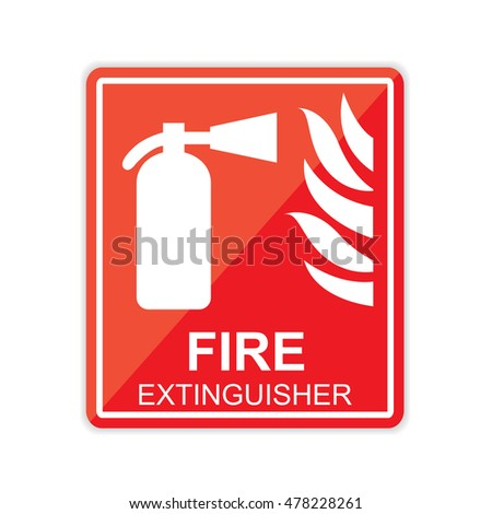 drawing red fire extinguisher on floor stock vector