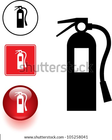 Fire Extinguisher Symbol Sign Button Stock Vector 105258041