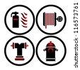 fire extinguisher symbols vector illustration - stock vector